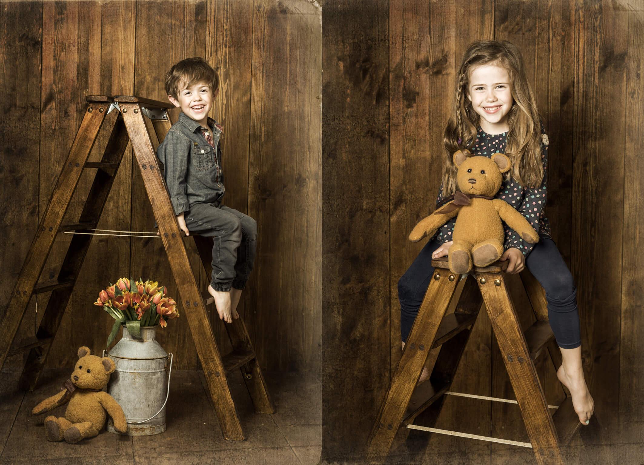 Kinderportrait mit Holzhintergrund